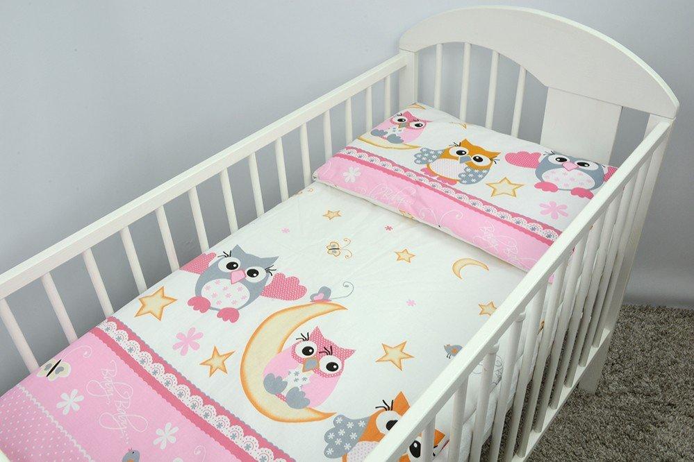 Bērnu gultas veļa: 2 daļas virspalags+spilvendrāna ANKRAS OWLS K-2 pink 205.135P