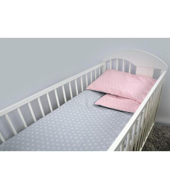 Bērnu gultas veļa: 2 daļas virspalags+spilvendrāna ANKRAS ROSETTE K-2 grey-pink ANKR-ROS-GYP.K2