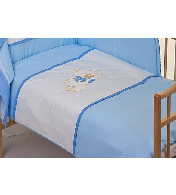 Bērnu gultas veļa: 2 daļas virspalags+spilvendrāna PUCHATEK Sleeping BEAR K-2 blue