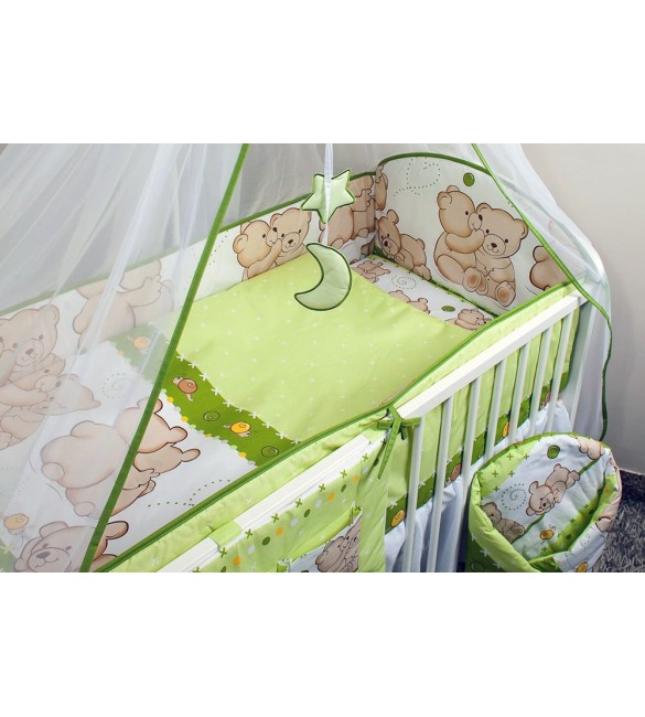 Bērnu gultas veļa: 3 daļas virspalags + spilvendrāna + apmalīte Ankras FRIENDS K-3 green ANKR-FRI-G.K3
