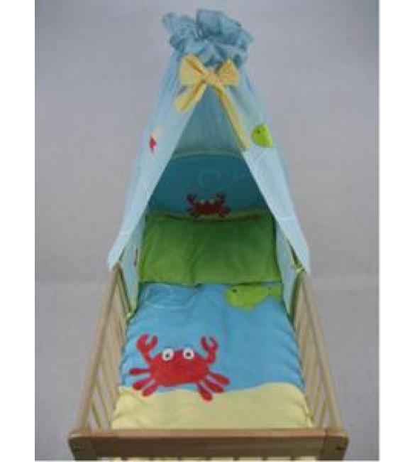 Bērnu gultas veļa: 4 daļas DREWEX Kolorino KRAB K-4 blue DRE-K4ZOO2002