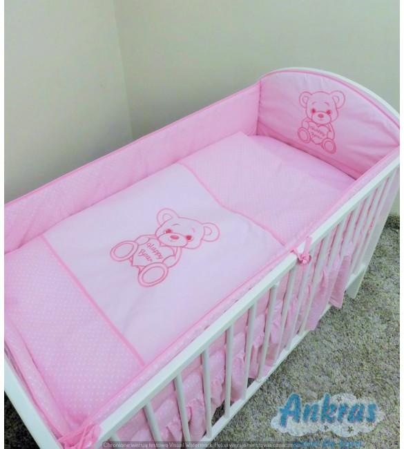 Bērnu gultas veļa: 5 daļas, Ankras HAPPY BEAR K-5 pink (135/180cm)