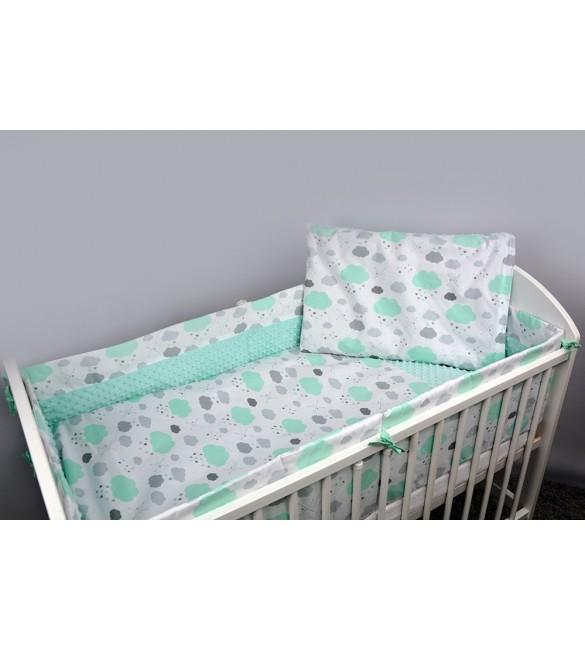 Bērnu gultas veļa: 5 daļas ANKRAS MINKY CLOUDS K-5 white/mint 572.135360CWM