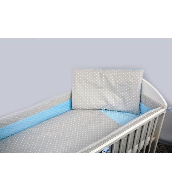 Bērnu gultas veļa: 5 daļas ANKRAS MINKY DOTS K-5 blue-grey ANKR-MDOT-BG.K5