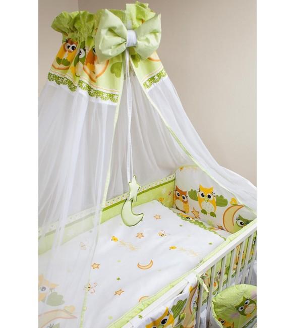 Bērnu gultas veļa: 6 daļas ANKRAS OWLS Green K-6