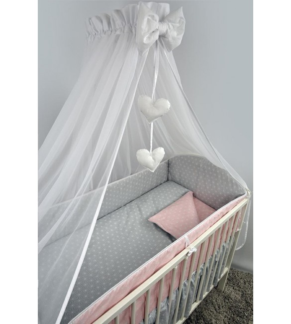 Bērnu gultas veļa: 6 daļas ANKRAS ROSETTE K-6 grey-pink ANKR-ROS-GYP.K6