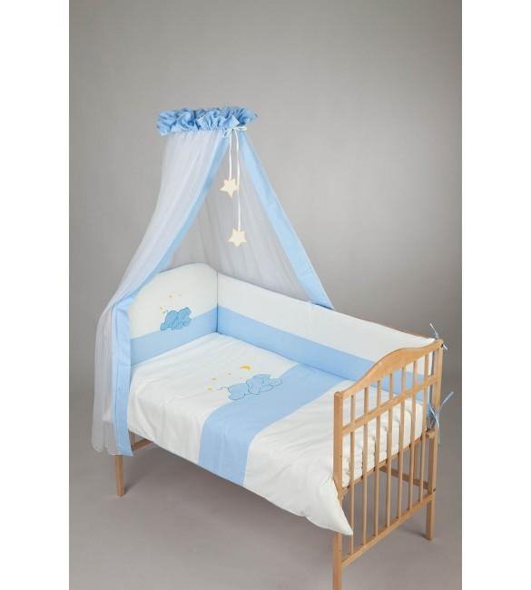 Bērnu gultas veļa: 6 daļas Puchatek ELEPHANT K-6 blue PUC-K6ELE.B