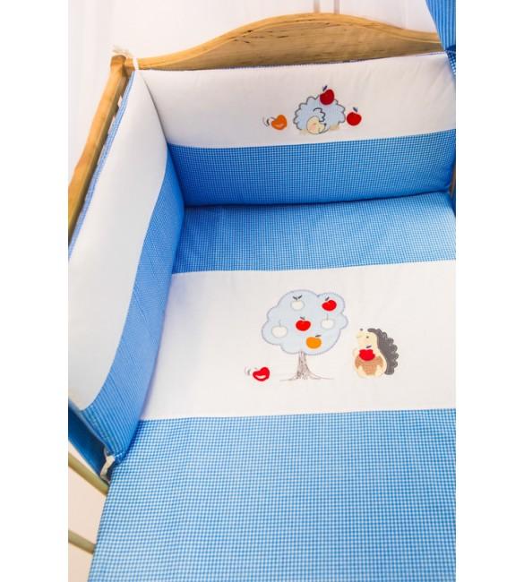 Bērnu gultas veļa: 6 daļas Puchatek HEDGEHOG K-6 blue PUC-K6HED.B2