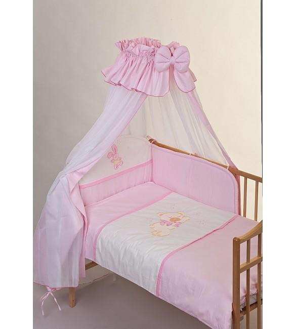 Bērnu gultas veļa: 6 daļas Puchatek SLEEPING BEAR pink K-6 (135,180)