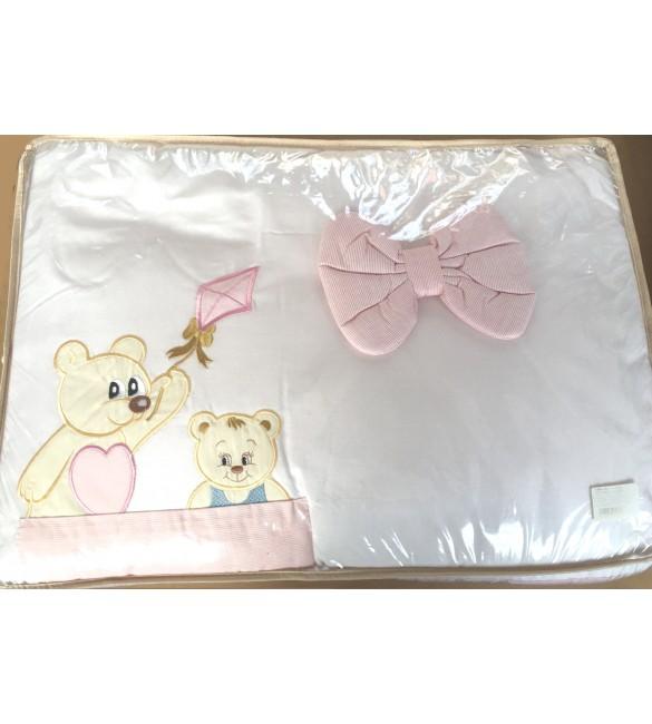Bērnu gultas veļa: 6 daļas Puchatek SONIA FAMILY K-6 pink (135,180)