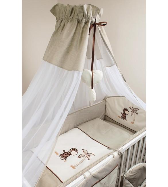 Bērnu gultas veļa šūpulim: 7 daļas, ANKRAS GIRAFFE beige K-7