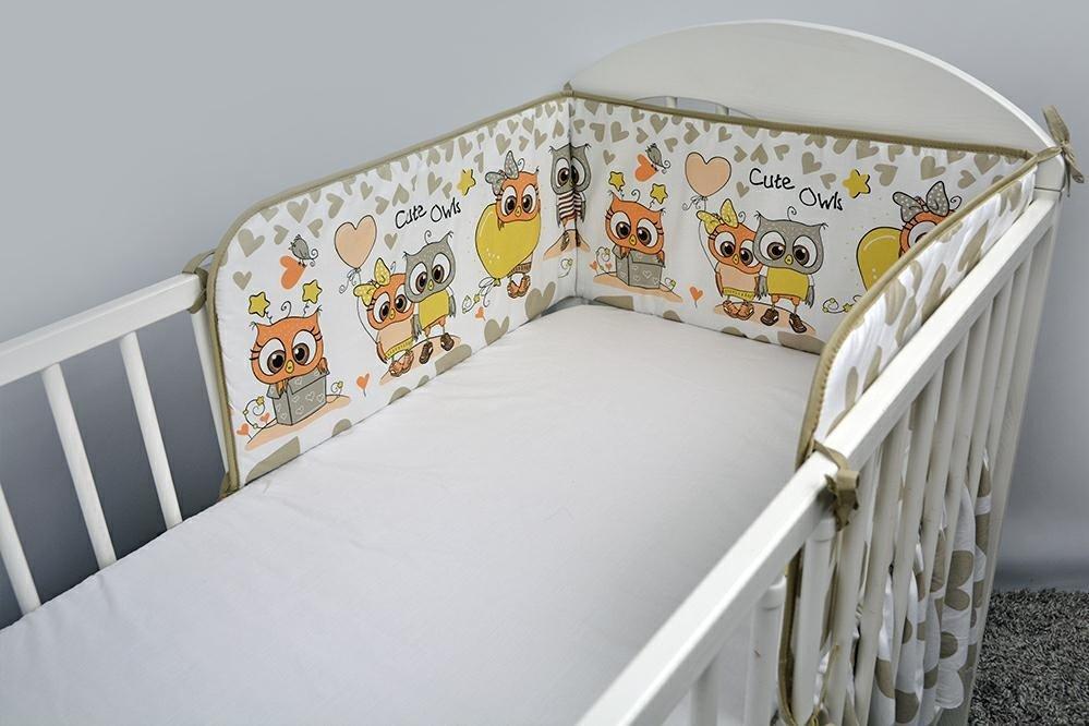 Bērnu gultiņas aizsargapmale 180 сm ANKRAS OWLS-HEARDS beige