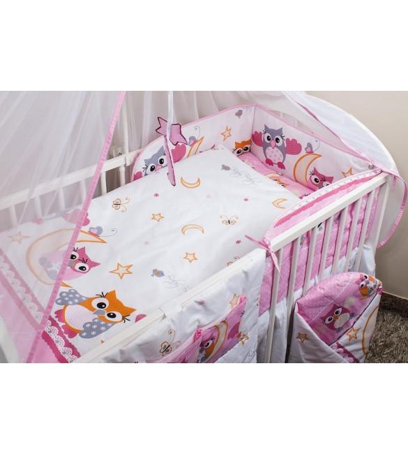 Bērnu gultiņas aizsargapmale 180 сm ANKRAS OWLS HEARTS pink