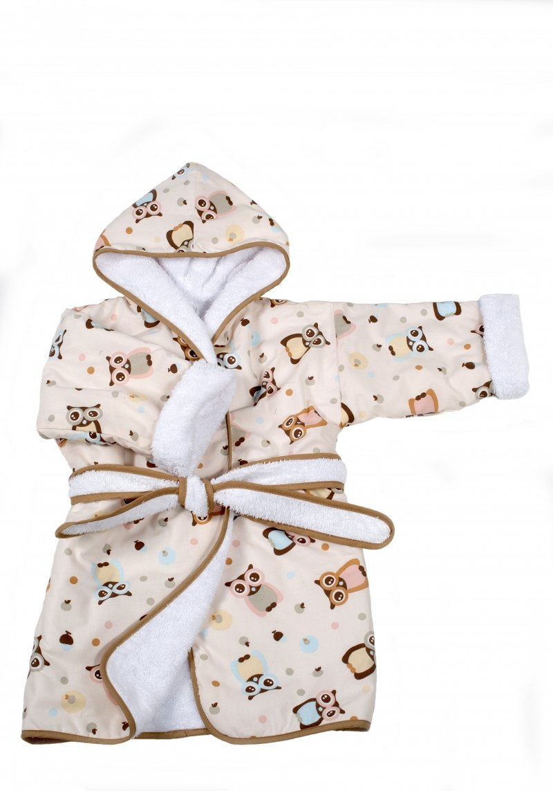 Bērnu halāts TROLL Owls ASC-BROW01-AS-WH