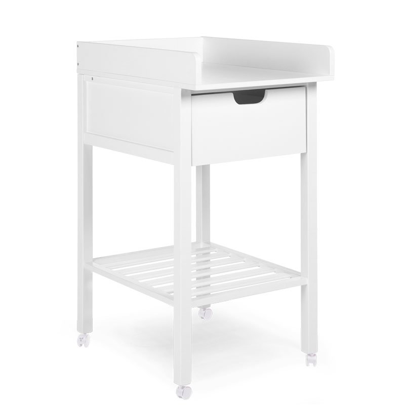 Bērnu pārtinamais galds ar atvilktni CHILDHOME Changing table+Drawer white + Wheels
