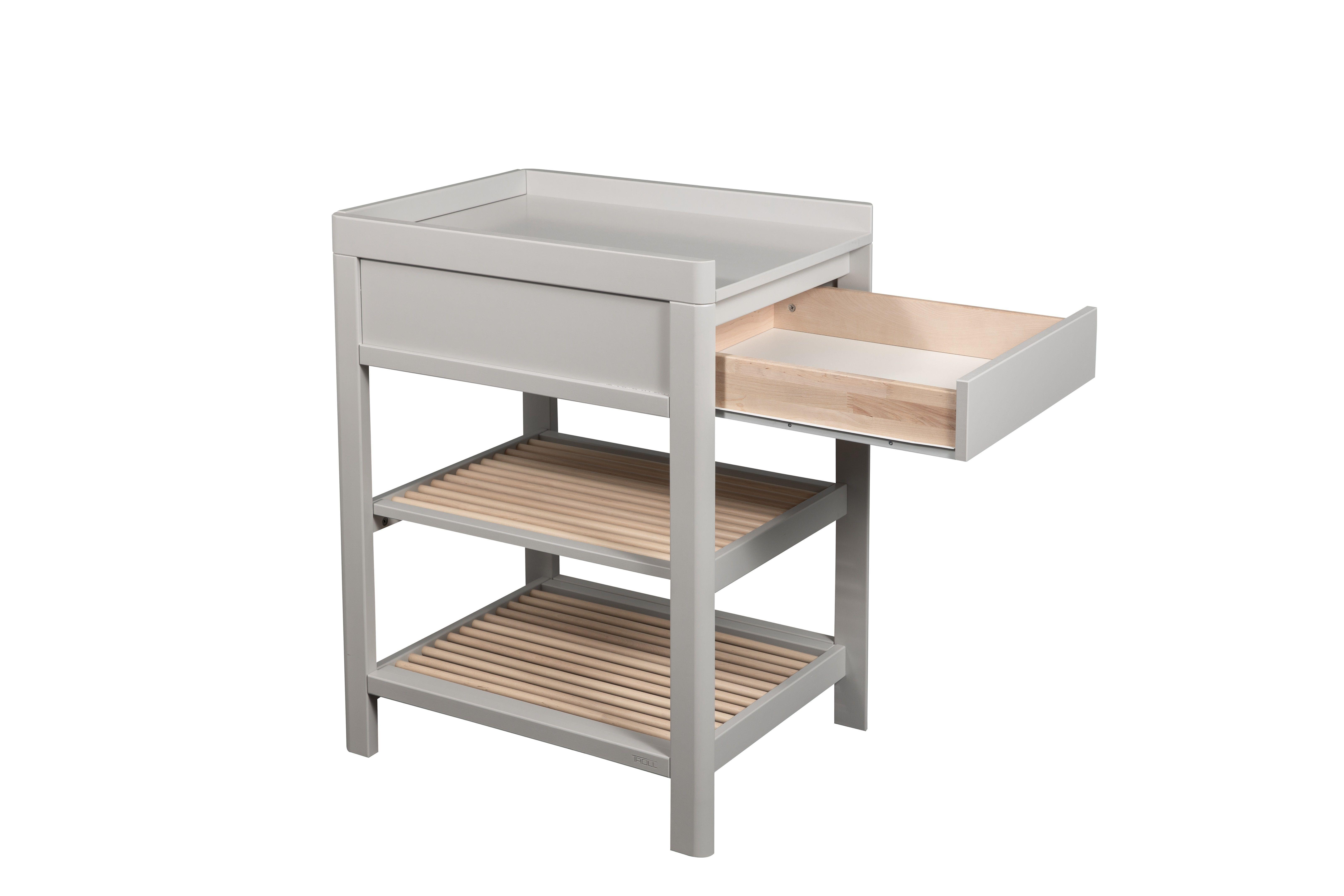 Bērnu pārtinamais galds ar atvilktni TROLL Lukas Warm grey Natural CTL-LU0523SFG-NA