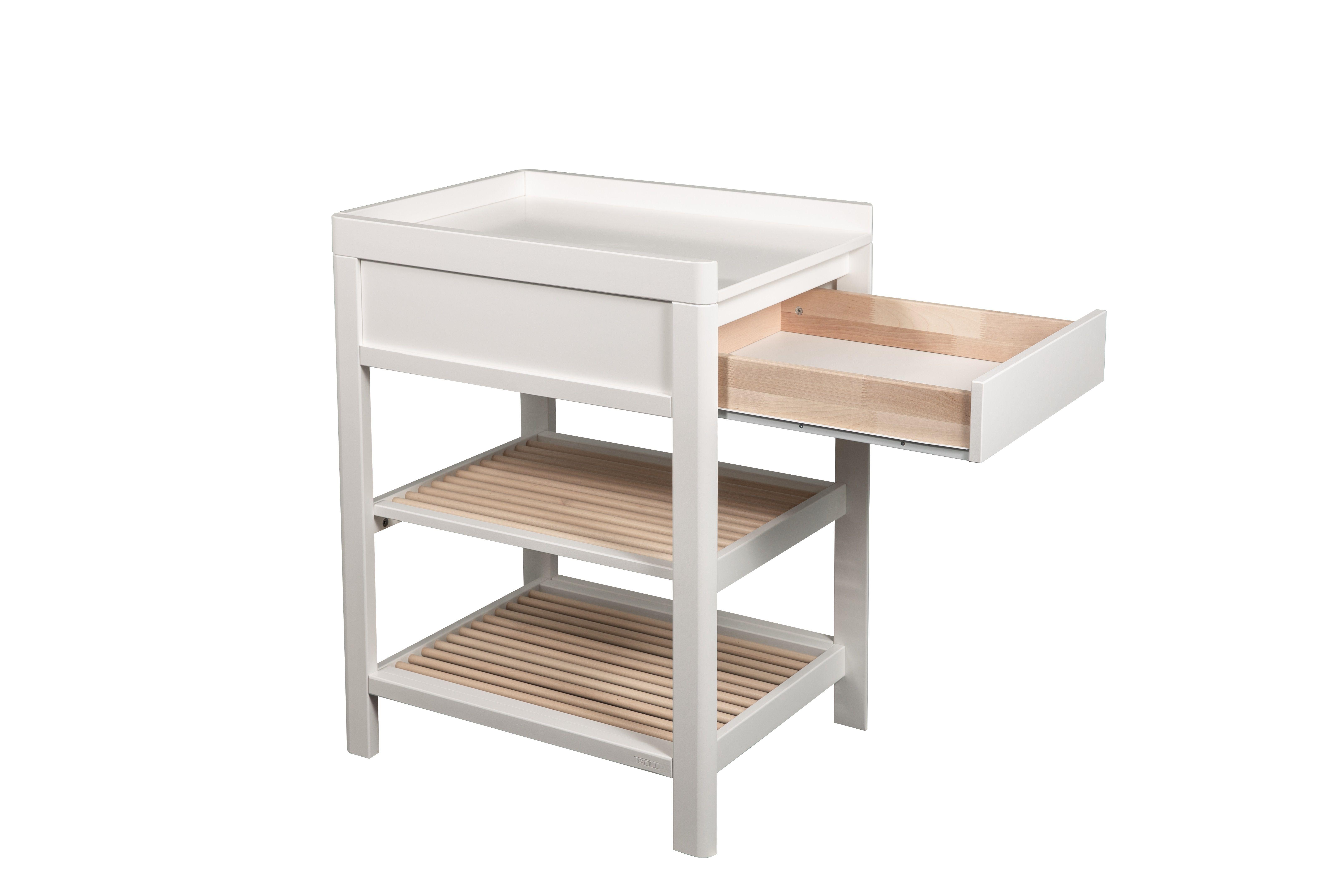 Bērnu pārtinamais galds ar atvilktni TROLL Lukas White natural CTL-LU0523SFG-NA