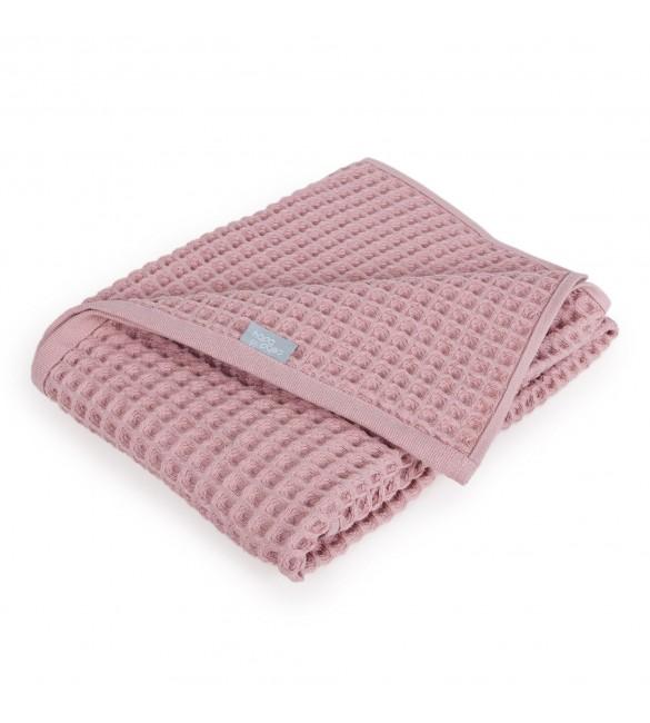 Bērnu plediņš-sedziņa 90x90 cm 100% kokvilna Ceba Baby WAFFLE Silver Pink 843