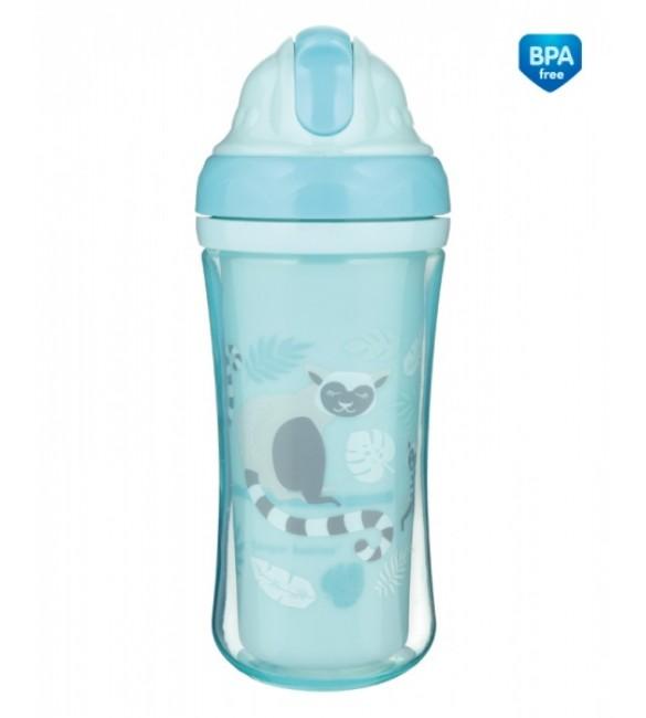 Bērnu pudele ar salmiņu 260 ml Canpol LEMUR 74/051