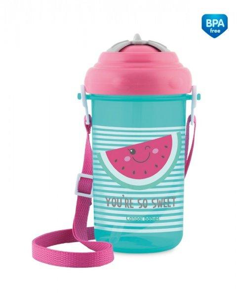 Bērnu pudele ar salmiņu 400 ml FOREST FRIENDS pink 4/102