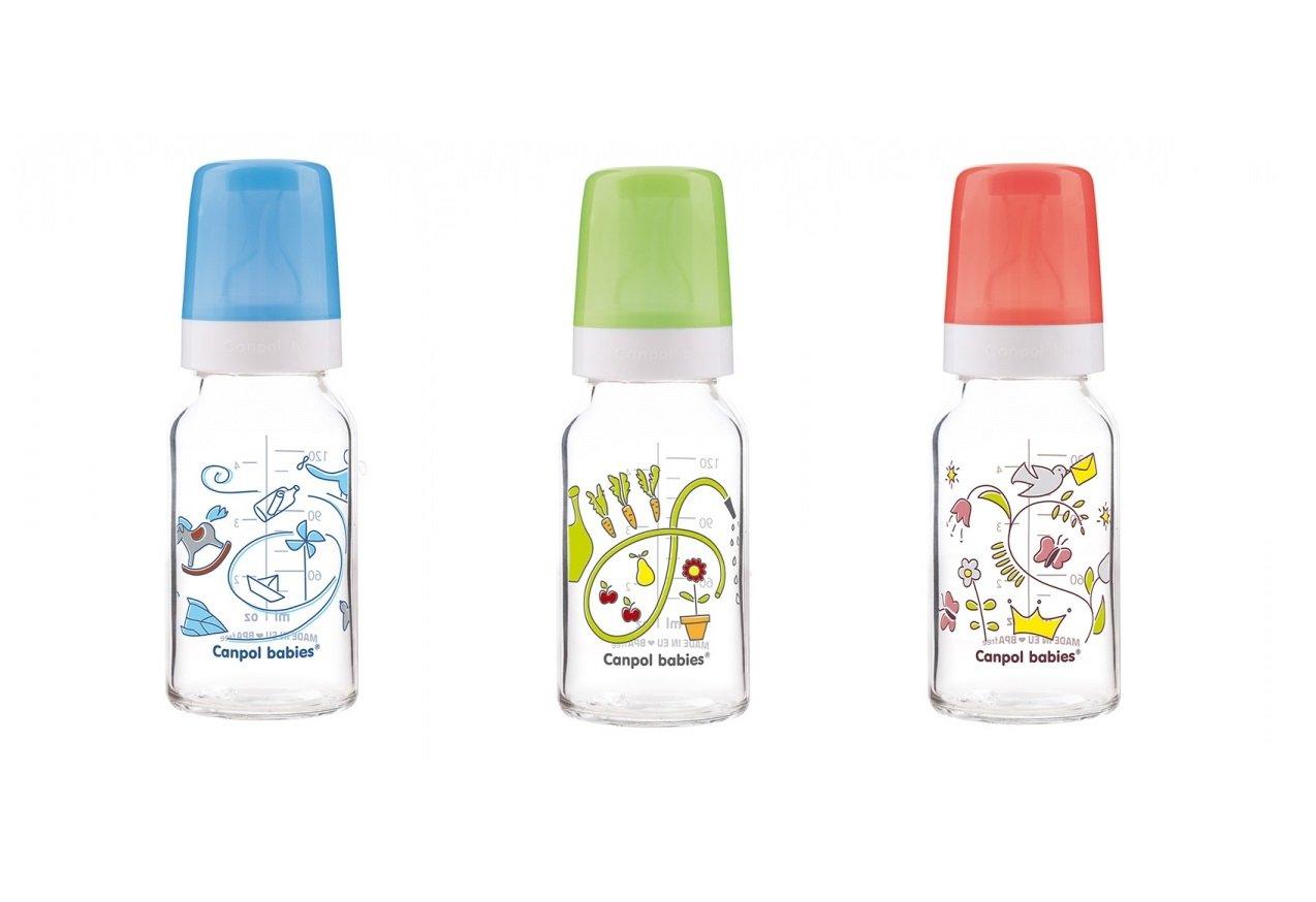 Bērnu pudele stikla ar dekoru 120ml Canpol 202