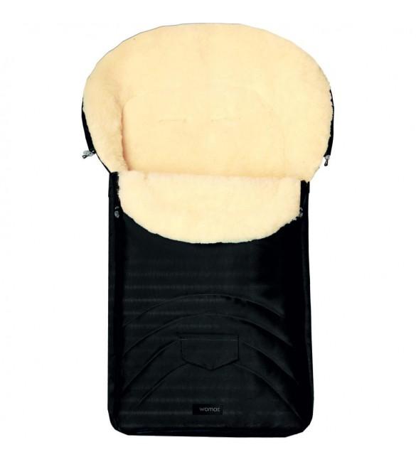 Bērnu ratu guļammaiss ar aitas vilnas oderi Womar EARLY SPRING Wool Black S8-017