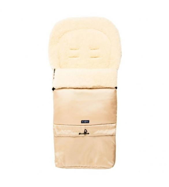 Bērnu ratu guļammaiss ar aitas vilnas oderi Womar SLEEP&GROW Wool Light beige S20-001