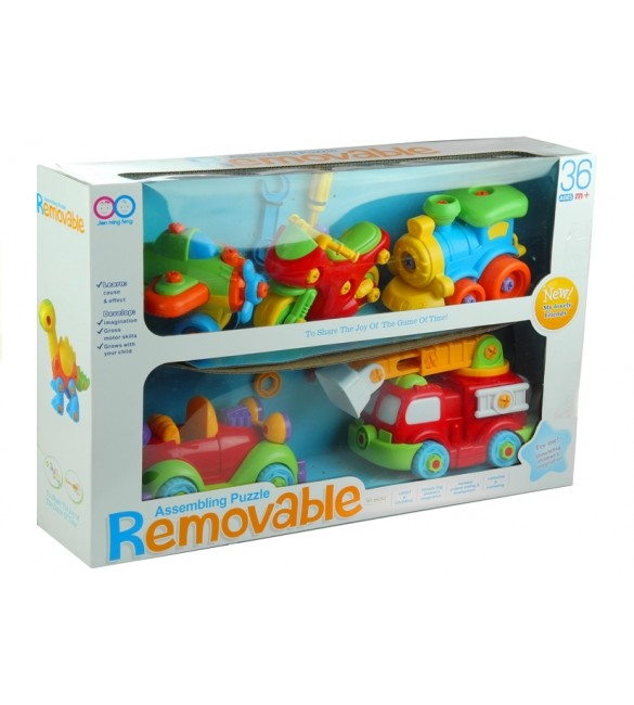 Bērnu rotaļlieta Transports saskrūvēšanai 5in1 + 4 instrumenti LEAN 56109