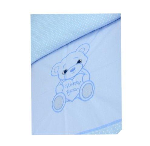 Bērnu sega un spilvens ratiņiem ANKRAS HAPPY BEAR K-2 blue