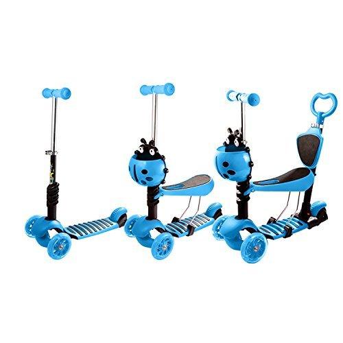Bērnu skrejritenis ar rokturi Scooter Blue LED 5in1