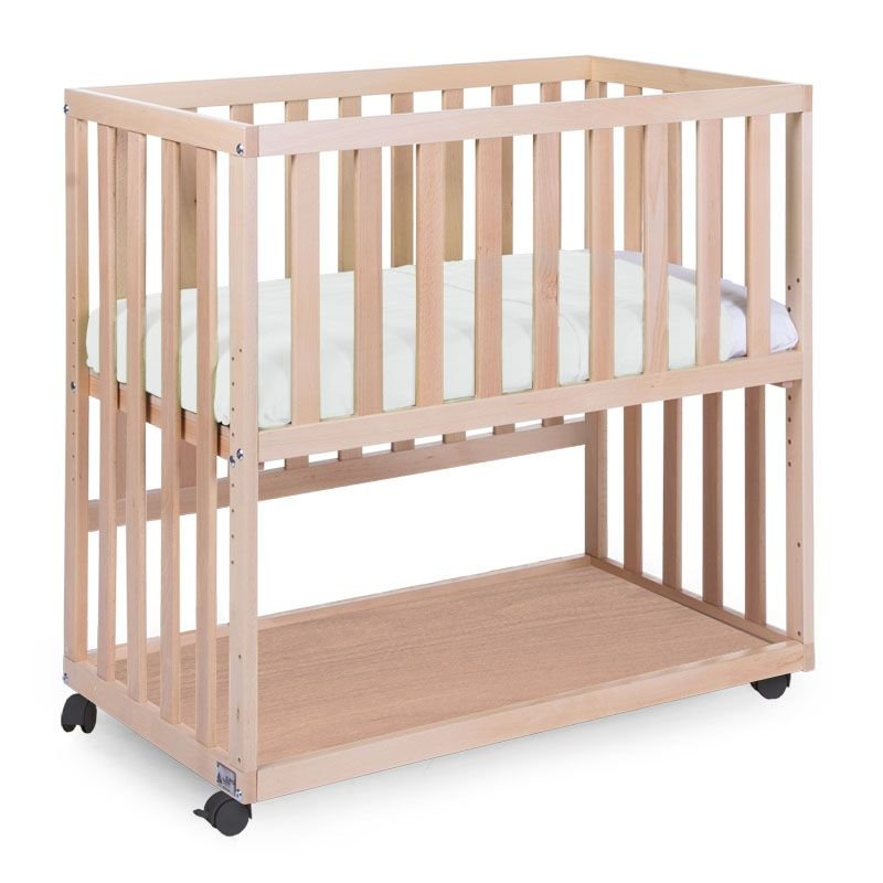 Bērnu šūpulis 50x90 сm CHILDHOME New Bedside Crib Beech Natural + wheels