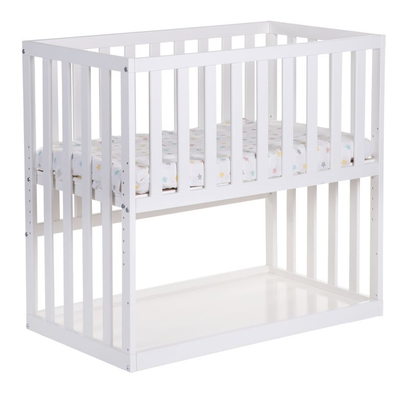Bērnu šūpulis 50x90 сm CHILDHOME New Bedside Crib Beech white + wheels