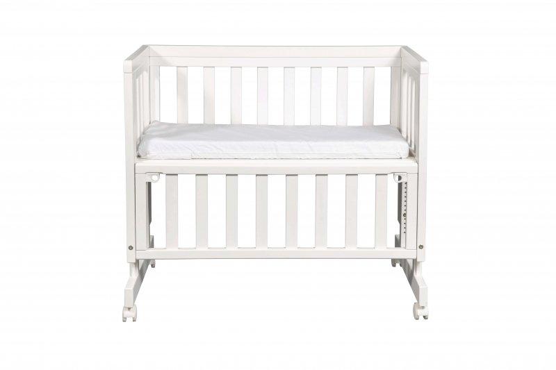Bērnu šūpulis ar nolaižamu malu TROLL Bedside White SWC-BD0315