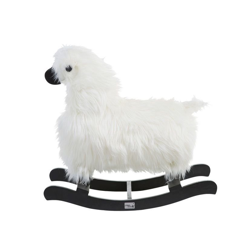 Bērnu šūpuļkrēsls Aitiņa CHILDHOME Rocking sheep white+black