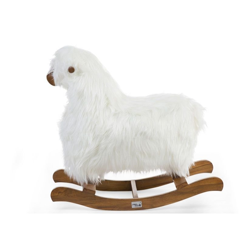 Bērnu šūpuļkrēsls Aitiņa CHILDHOME Rocking sheep white+brown