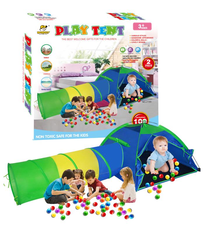 Bērnu telts Tunelis + bumbiņas Play tent