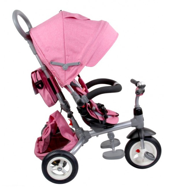 Bērnu trīsritenis SunBaby LITTLE TIGER T500P melange pink  J01.015.1.10 pumpējamie riteņi