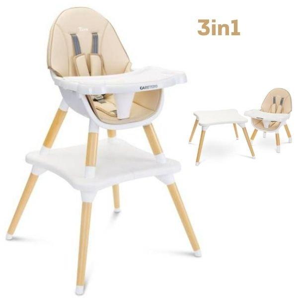 Caretero Tuva Beige 3 in 1 Barošanas krēsls