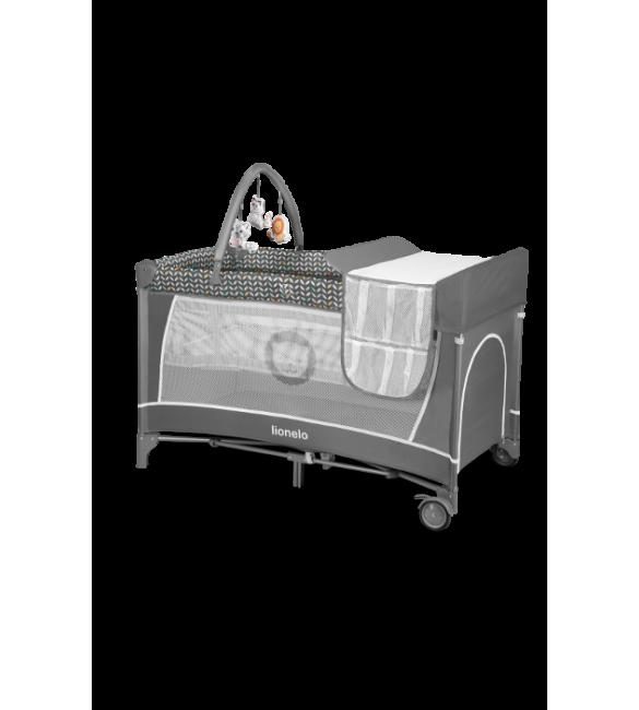 Ceļojumu gulta 2in1 Lionelo FLOWER grey scandi