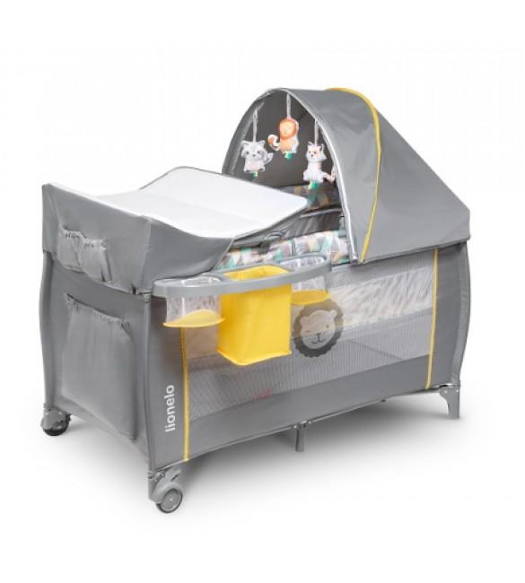 Ceļojumu gultiņa manēža (2 līmeņi) Lionelo SVEN yellow scandi