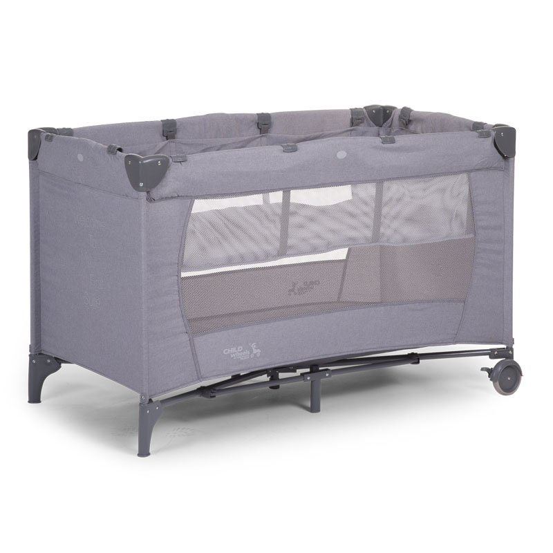 Ceļojumu gultiņa manēža 60x120 сm CHILDHOME Travel Cot canvas light grey +2nd Layer