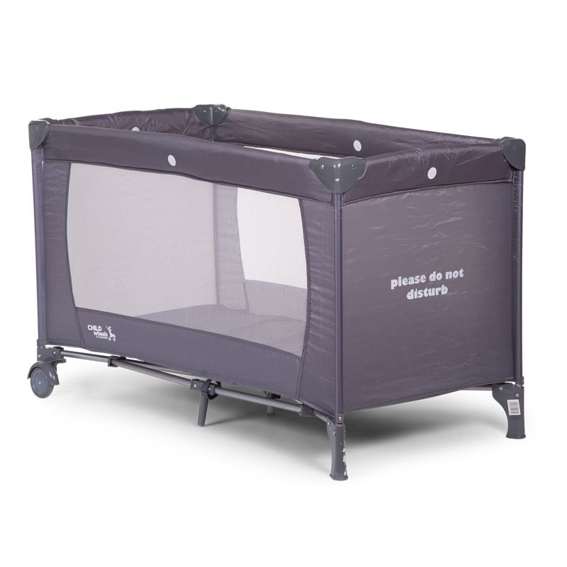 Ceļojumu gultiņa manēža 60x120 сm CHILDHOME Travel Cot white print grey dnd