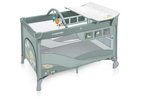 Ceļojumu gultiņa manēža Baby Design DREAM Sky green 04 (melange) (2 līmeņi)