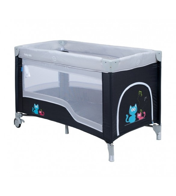 Ceļojumu gultiņa manēža BabyMix CATS 8052-2 dark grey ( 2 līmeņi )
