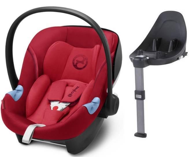 Cybex Aton M i-Size + ISOFIX Base M Rebel Red Bērnu autosēdeklis 0-13 kg