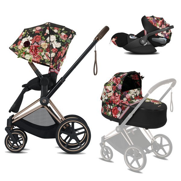 Cybex Priam 2.0 + Cloud Z I-size Spring Blossom Dark Bērnu rati 3in1