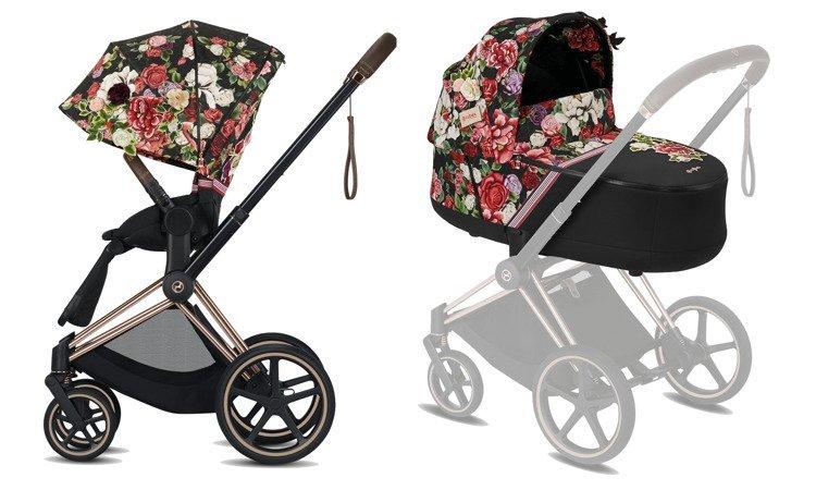 Cybex Priam Spring Blossom Dark Bērnu rati 2in1