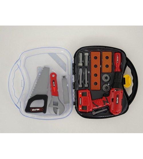 Darbarīku komplekts ar elektr. urbji koferītī 30x28x8 cm 510050