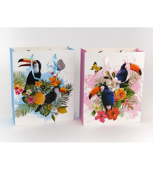 Dāvanu maisiņš Tukāns un ziedi 32x26.5x10 cm 489547