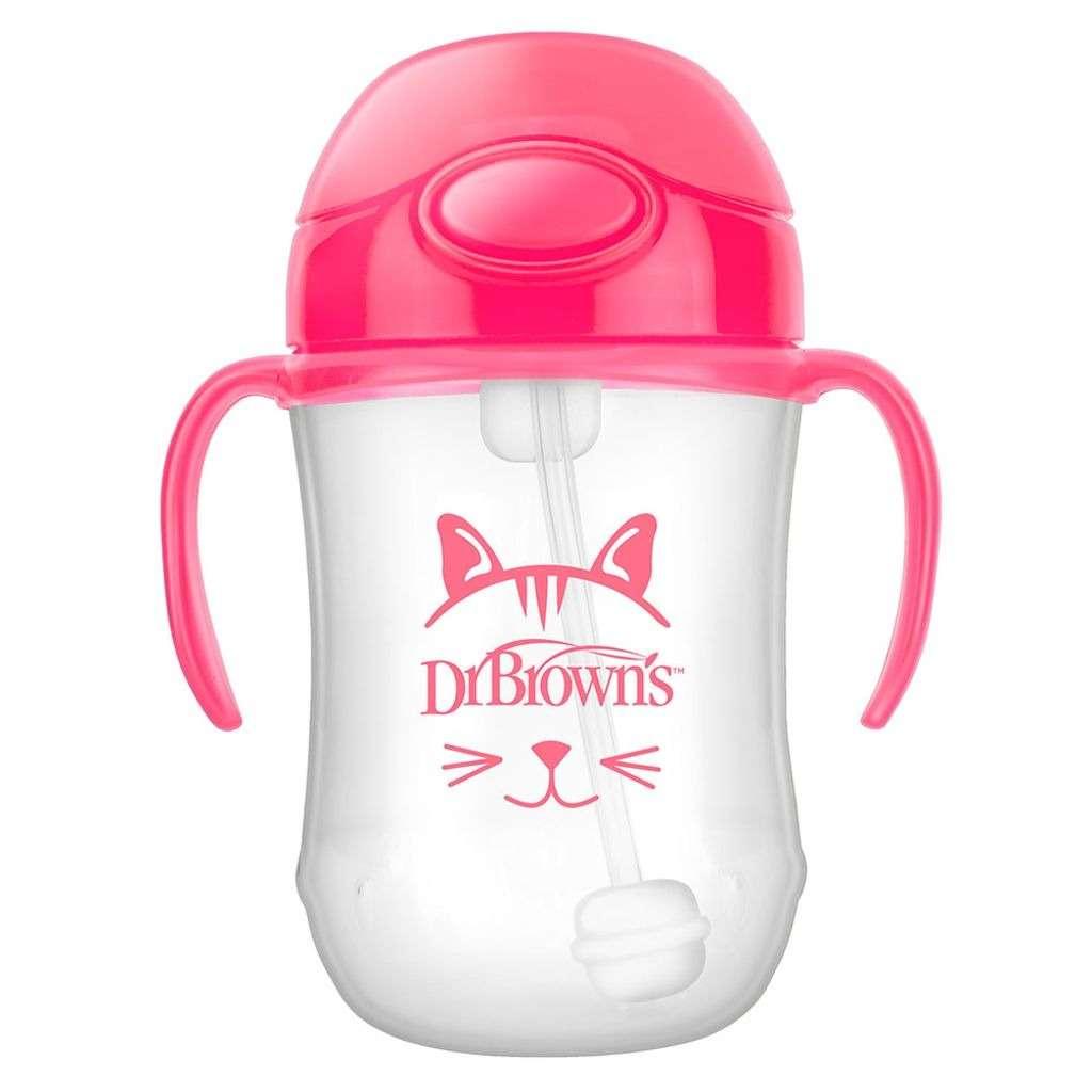 Dr.Browns First Straw Cup Mācību krūzīte ar salmiņu un atsvaru no 6 mēnešu vecuma, rozā, 270ml